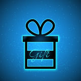 Vector gift box with magic sparkle and caption Gift on blue background royalty free illustration