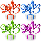 Vector gift box and New Year ribbons 2015. Vector New Year illustration. Red, blue, green and purple ribbons in the shape of 2015 and gift box isolated on white Royalty Free Stock Image