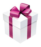 Vector gift box with pink silk ribbon and bow Royalty Free Stock Photo