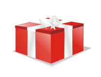 Vector gift box or present. White isolated gift box or present Royalty Free Stock Photography