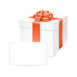 Vector gift box with red bow ribbon. Stock Photos