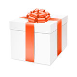 Vector gift box with red bow ribbon. Stock Photo