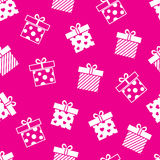 Vector gift boxes pink seamless pattern Stock Images