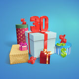 Discount illustration. Gift Boxes. 30 percent Royalty Free Stock Images