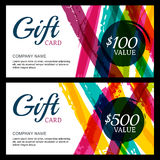 Vector gift card, abstract watercolor stripes and splashes backg Stock Image