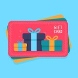 Vector gift card in flat style Stock Photography