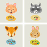 Vector Gift card with fox, cat, bunny, and raccoon. Stock Images
