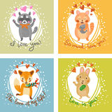 Vector Gift card with fox, cat, bunny, and raccoon. Royalty Free Stock Photos