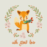Vector Gift card with fox and flowers. Stock Image