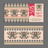 Vector gift card template with a national ornament. Ideal for shops, Spa salons Royalty Free Stock Image