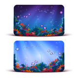 Vector Gift Card with underwater cave on Royalty Free Stock Photos