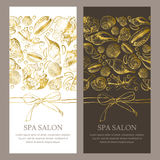Vector gift card, voucher, banner or flyer template. Golden seashells illustration on white and black backgrounds. Vector gift card, voucher, banner or flyer Royalty Free Stock Image