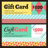 Vector gift card or voucher template with geometric pattern. Royalty Free Stock Image