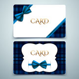 Vector gift cards, blue tartan and decorative bow Stock Photography