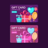 Vector gift cards. Gift card template. Discount coupon. Special offer for the customer. Place for text. Background with gifts for banners, invitations, tickets Royalty Free Stock Photography