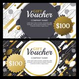 Vector gift or discount voucher template with golden fall leaves and dynamic geometric shapes. Gold shiny holiday cards. Royalty Free Stock Photo