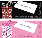 Vector gift label. Happy birthday gift label in color black or pink Royalty Free Stock Images