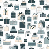 Vector gift and present icons seamless pattern Royalty Free Stock Photo