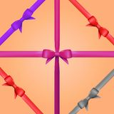 Vector Gift Ribbon with Bow Set Royalty Free Stock Photo
