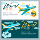 Vector gift travel voucher. Multicolor airplane in the sky. Coupon, certificate, flyer, layout. Stock Images