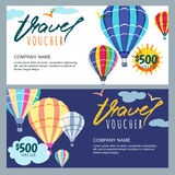 Vector gift travel voucher template. Multicolor hot air balloons in the sky. Concept for travel agency and sale ticket. Royalty Free Stock Photos