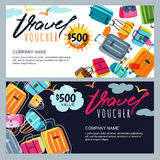 Vector gift travel voucher template. Multicolor luggage, suitcase, bags background. Stock Image
