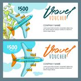 Vector gift travel voucher. Top view hand drawn flying airplane. Coupon, certificate, flyer, layout. Vector gift travel voucher template. Top view hand drawn stock illustration