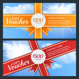 Vector gift voucher or business card template. Blue sky with sun light, abstract background. Stock Photos