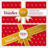 Vector gift voucher or business card template. Summer design with strawberry texture background. Stock Photography