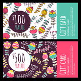Vector gift voucher, card with hand drawn flowers background. Stock Images