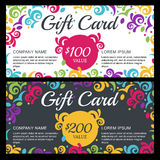 Vector gift voucher or card template with floral background. Dec Royalty Free Stock Photography