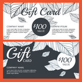 Vector gift voucher, card template with hand drawn autumn leaves Stock Photography