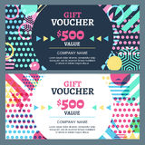 Vector gift voucher with colorful geometric pattern and round fr Stock Photography