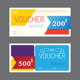 Vector gift voucher coupon template design. paper label frame mo. Dern pattern style royalty free illustration