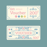 Vector gift voucher coupon template design. paper label frame vi Stock Photography