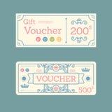 Vector gift voucher coupon template design. paper label frame vi royalty free illustration