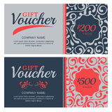 Vector gift voucher with flourish ornament background. Decorative business card template. Floral design concept for boutique, beauty salon, spa, fashion, flyer Royalty Free Stock Photography