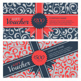 Vector gift voucher with flourish ornament background and ribbon Royalty Free Stock Images