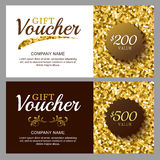 Vector gift voucher with golden sparkling pattern. Royalty Free Stock Image