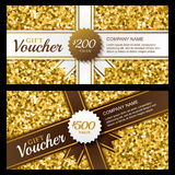 Vector gift voucher with golden sparkling pattern and ribbon. Stock Images
