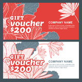 Vector gift voucher with lotus, lily flowers. Stock Images