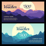 Vector gift voucher with mountain landscape view. Royalty Free Stock Photography