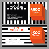 Vector gift voucher with striped pattern and orange cube. Royalty Free Stock Photography