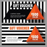 Vector gift voucher with striped pattern and orange pyramid. Royalty Free Stock Photo