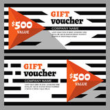 Vector gift voucher with striped pattern and orange pyramid. Royalty Free Stock Photos