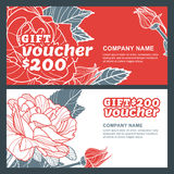 Vector gift voucher, summer design with red roses flowers. Business floral card template. Royalty Free Stock Photos