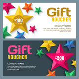 Vector gift voucher template with 3d stylized paper stars. Holiday cards or banners background. Design concept for gift coupon, invitation, certificate, flyer Royalty Free Stock Images