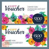 Vector gift voucher template with decorative rose flowers. Royalty Free Stock Image