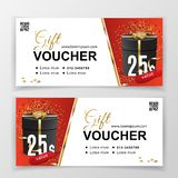Vector gift voucher template for department stores, business. Clean vector design, black gold design elements. on white stock photo