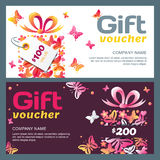 Vector gift voucher template with gift box and butterflies. Stock Image